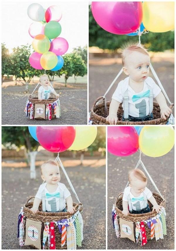 ساخت یک بالن خوشگل از بادکنک های هلیومی برای عکس تولد کودکان